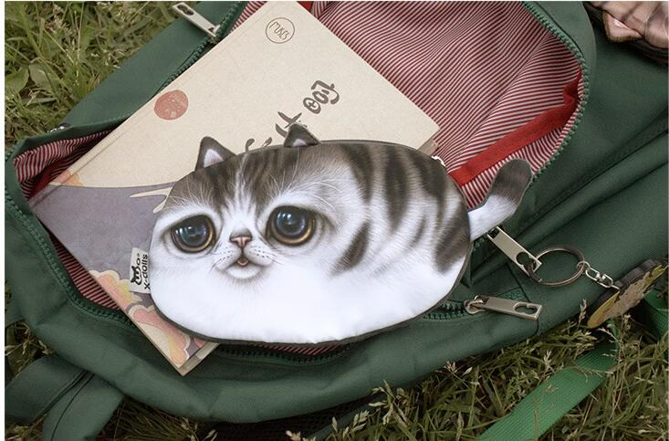 Coin purse New 3D girl wallet bag ladies face zipper mini cat animal coin purse children 39 s purse plush coins pouch kawaii bag in Coin Purses from Luggage amp Bags