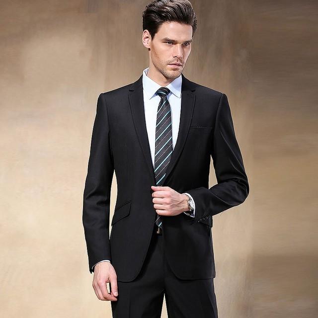 2017 estilo ocidental ternos homens de negócios de cor preta da marca boss terno para homens blazers de smoking do casamento do noivo (jacket + calças)