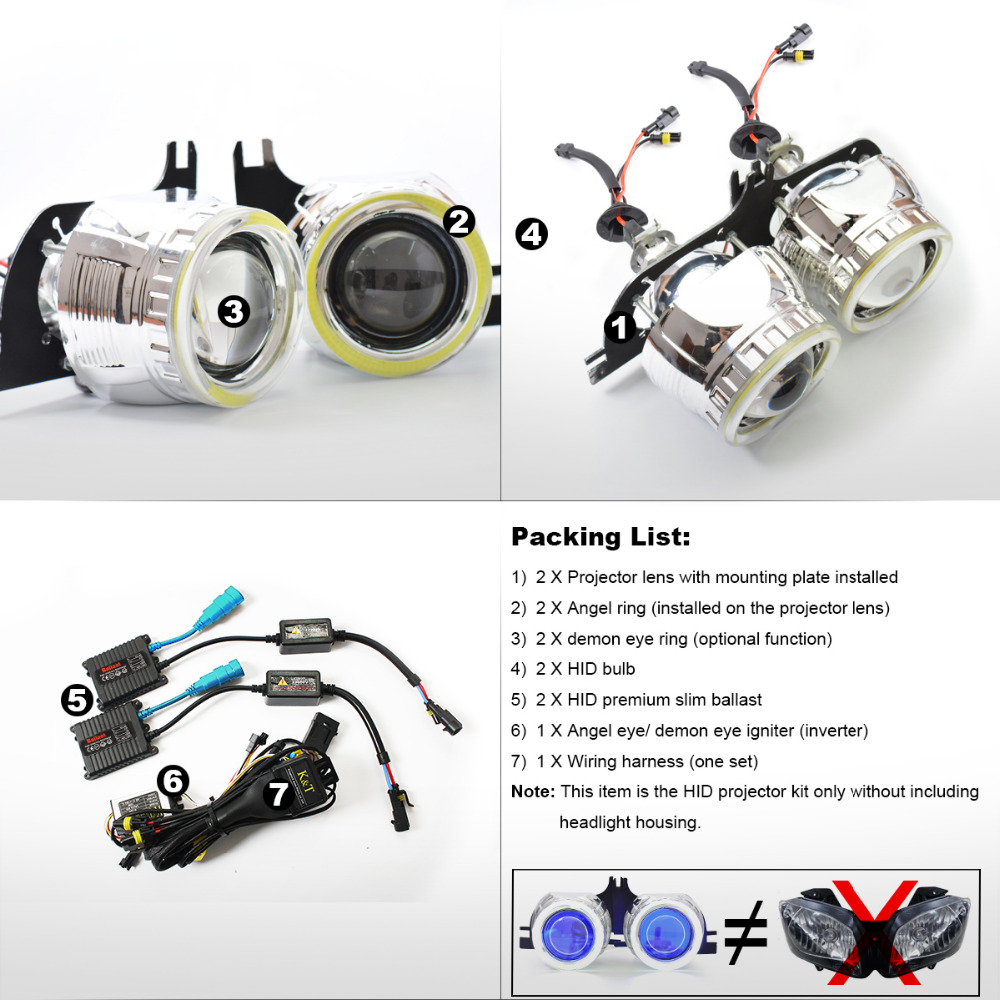 Kt Headlight Suitable For Yamaha Yzf R15 2012 2016 Led Angel Eye Red Demon Motorcycle Hid Bi Xenon Projector Lens 13 14 15 On Alibaba