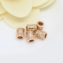 6PCS 6x7MM 24K Champagne Gold Color Plated Brass Cylinder Spacer Beads Bracelet High Quality Jewelry Accessories