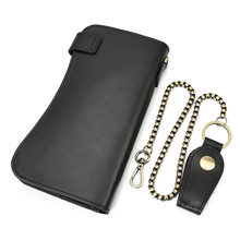 Leather Wallet With Iron Chain Cowhide Leather Black Bifold Card Wallet Men Hot Metal Chain Wallet Male