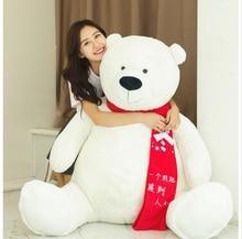 large 170cm white polar bear plush toy red scard bear doll hugging pillow, Valentine's Day,Xmas gift c640