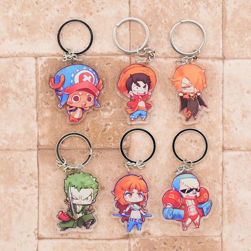 2018 One Piece Keychain Luffy Chopper Double Sided Acrylic Key Chain Pendant Anime Accessories Cartoon Key Ring DBS1P