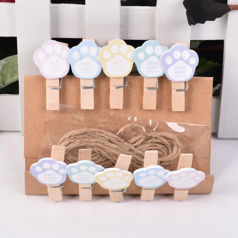 10 Pcs/lot Cute Cat Paw Wooden Clip With Hemp Rope Photo Paper Clothespin Craft Clips Party Decoration Clip