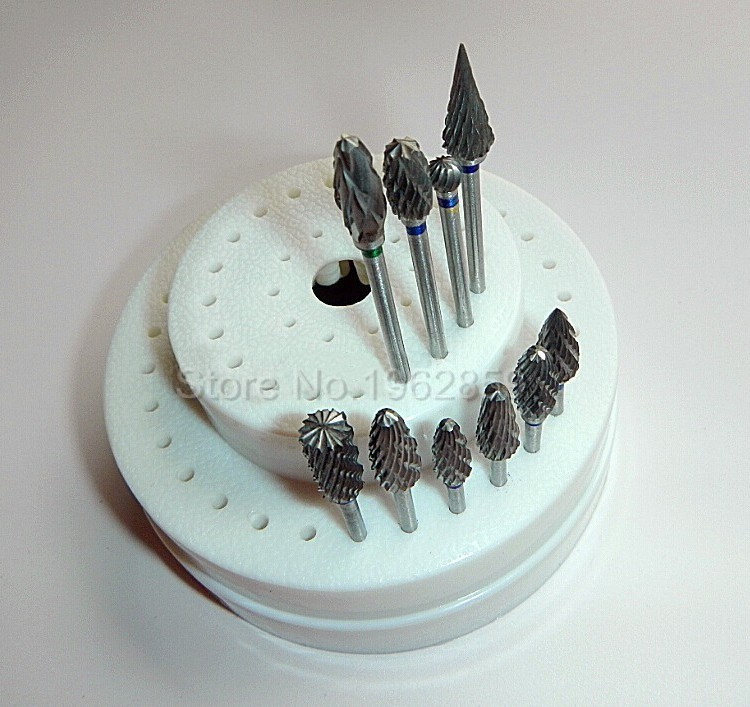 10Pcs-Dental-Tungsten-Steel-Nitrate-Carbide-Burs-Drills-Dentistry-2.35mm-Dental-Burs+1pc 60-Hole-Block-1