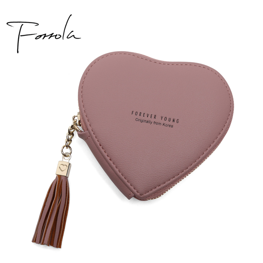 2018 Fashion Tassel Women Designer Heart-shaped Wallet Small Zipper Change Coin Purse Hot Female Clutch For Girls 12 Colors coneed fashion women coins change purse clutch zipper zero wallet phone key bags j27m30