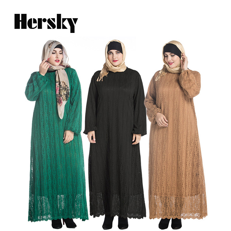 Muslim Abaya Clothes Turkey Women Long Sleeve Full Lace Dress Picture Fashion Lady islamic abayas dresses 6XL Plus size Clothing