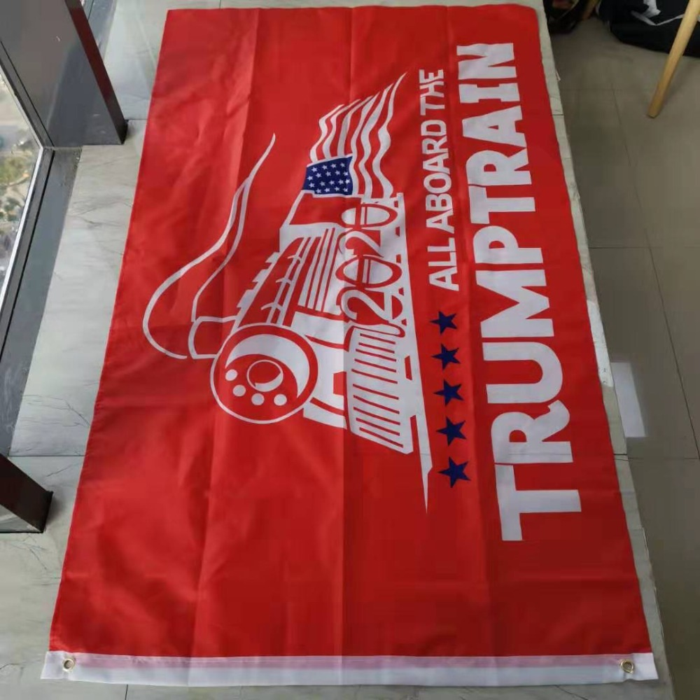 High Quality 3x5 Ft Red Trump Train Flag With Two Grommets