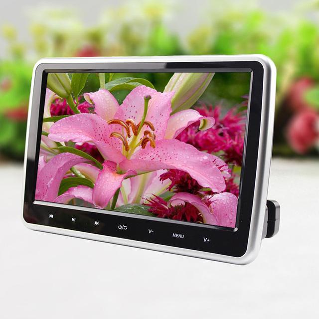 """12 W 10 """"HD TFT LCD de Pantalla Táctil Digital Reposacabezas Monitor Del Coche DVD/USB/SD del Jugador de IR/FM Construir-en IR Altavoz Con Mando a distancia"""