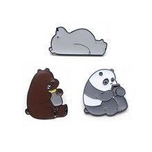 K36 We Bare Bears Cute Grizzly Panda Ice Bear metal enamel Pins & Brooches for Women Men Lapel pin Badge Collar Kids Gifts цена и фото