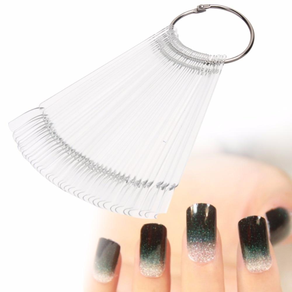 100Pcs Transparent Plastic False Nails Fan Shape Nail Art Gel Polish ...