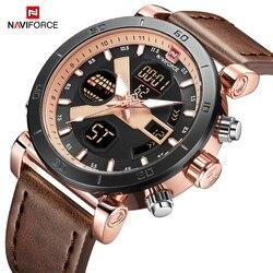 NAVIFORCE męski zegarek podwójny wyświetlacz led cyfrowy chronograf sportowy zegarek na rękę kwarcowy wojskowy wodoodporny zegar Relogio Masculino w Zegarki kwarcowe od Zegarki na