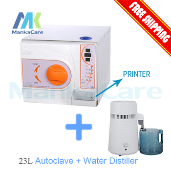 23L Dental Autoclave and 4 liters Portable water distiller New Design 18L LCD Vacuum Steam Sterilizer High Quality autoclave