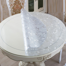 home kitchen anti scald crystal floral waterproof transparent Dining oil proof round PVC placemat table cloth mat cover