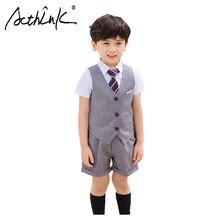 ActhInK 2019 New 3Pcs Boys School Suit Uniform Suits Baby Ceremony Costume Kids Campus Clothing Set For