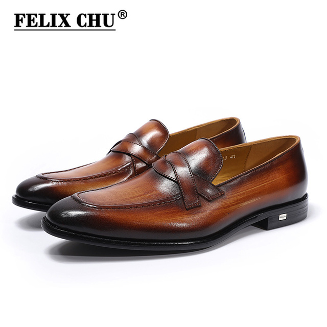 FELIX CHU Classic Mens Loafers Genuine Leather Brown Gray Slip On Formal  Shoes Office Party Wedding Man Dress Casual Footwear 5413a558e448