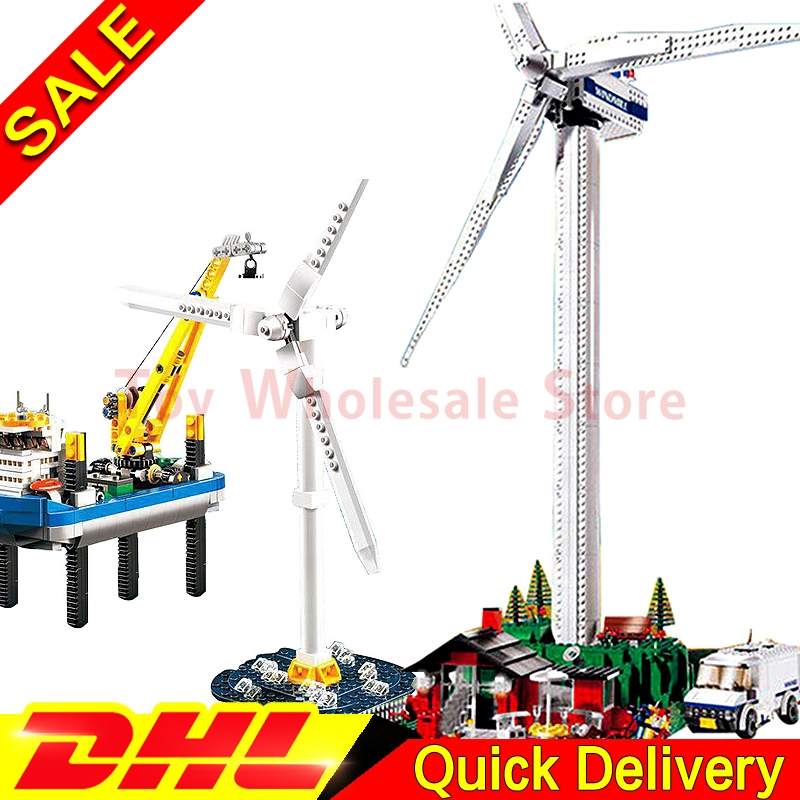 Lepin 37001 The Vestas Windmill Turbine + Lepin 37002 Borkum Riffgrund Building Blocks Bricks Toy Model Gifts CLone 4999 4002015 solar windmill w120 jigsaw puzzle building blocks environmental diy toy