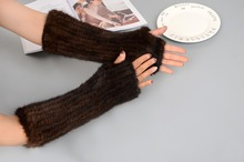 MIARA.L wholesales mink furs furs hand knitting dew finger half finger thickens warm winter to protect the long glove for ladies недорого