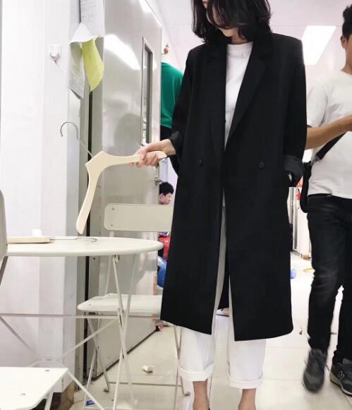 2018 Femmes Automne Nouveautés Casual Femelle Et Apricot Printemps La Blazers Longues Vestes Solide Veste pink Costumes Plus Taille Large black r5rxq4w