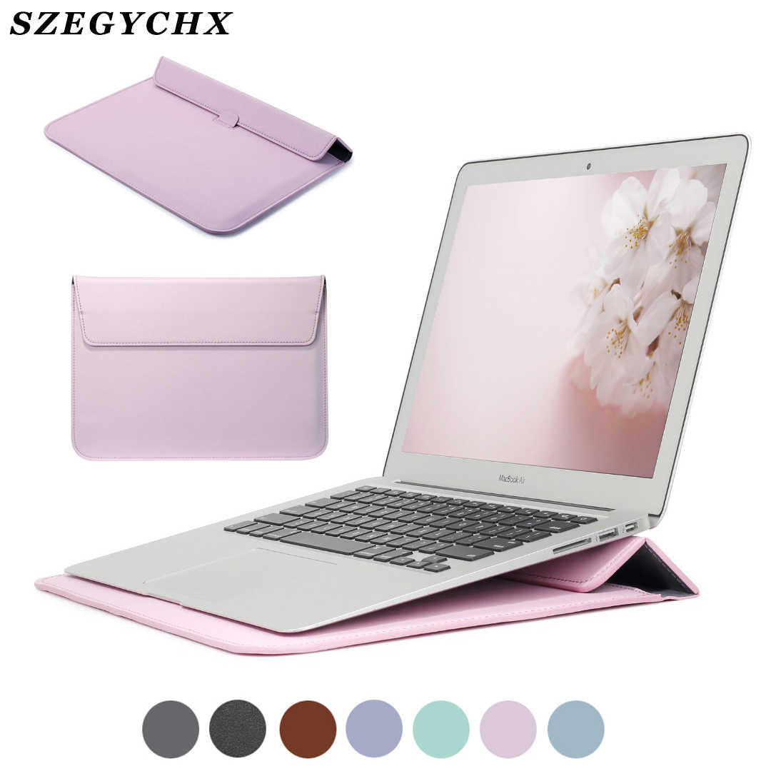 PU Leather Sleeve Protector tas voor Macbook Air 13 A2179 Pro Retina 12 15 Laptop Case Voor Xiaomi Air 13.3 voor Huawei Stand Cover