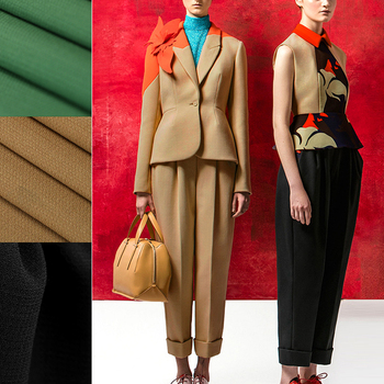 Quality 153CM Wide 490G/M Weight Solid Color Black Green Camel Wool Crepe Fabric for Autumn Spring Suit Dress Jacket Pants DE859