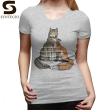 Love Couple T-Shirt Wolf Fox T Shirt Street Wear Short-Sleeve Women tshirt Silver Large size O Neck Cotton Ladies Tee