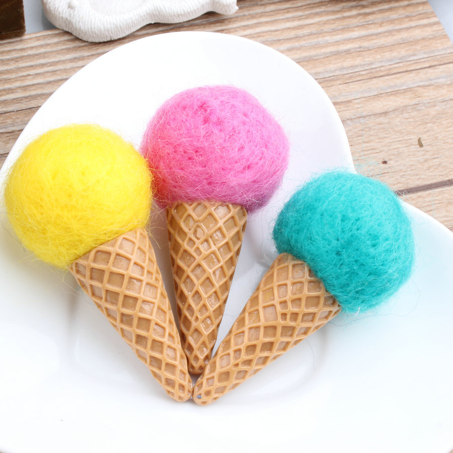 Free Shipping 20PCS/Lot Handmade Wool Felt Crafts Kawaii Ice Cream Shape DIy Jewelry Accessories Girls Hair Jewelry Material