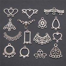 20 pçs brincos conector encantos jóias descobertas antigo prata cor brincos conector encantos para brinco que faz acessórios