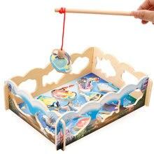 Детские развивающие игрушки для рыбалки деревянные магнитные