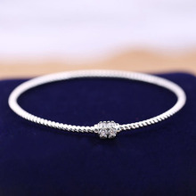 Authentic 925 sterling silver Jewelry bangle exquisite White zircon bracelet solid European style woman DIY Making wholesale