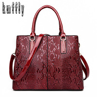 KMFFLY Brand 2017 New Serpentine Pattern Women S Handbags Flower Leather Women Bag Ladies Hand Bags