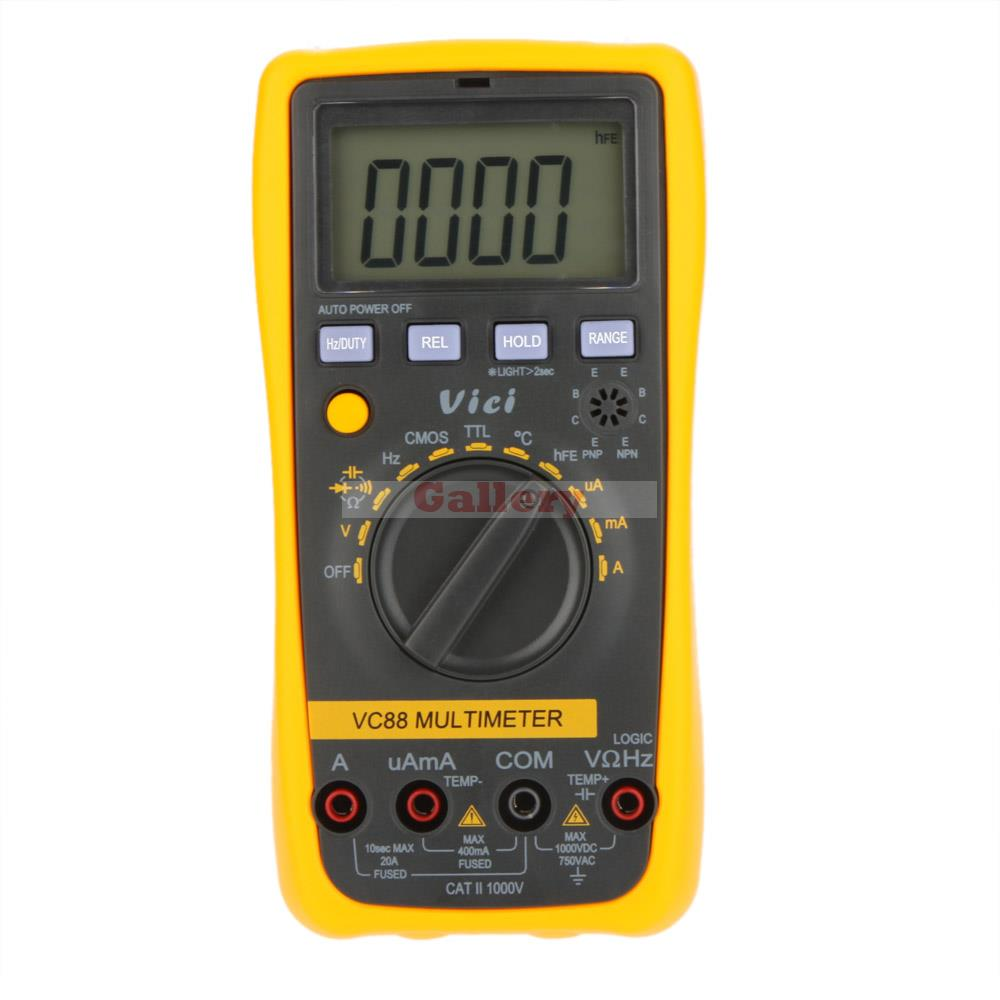 Vici VICHY VC88 3 3/4 Auto Range Digital Multimeter DMM w/Temperature Capacitance Frequency hFE & Logic Test uni t ut70b lcd digital multimeter auto range frequency conductance logic test transistor temperature analog display
