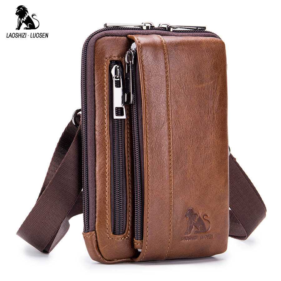 819dff1981a9 LAOSHIZI LUOSEN Waist Fanny Packs Belt Bag Genuine Leather Small Messenger  Shoulder Bag Men Phone Pouch Bags Cigarette Case
