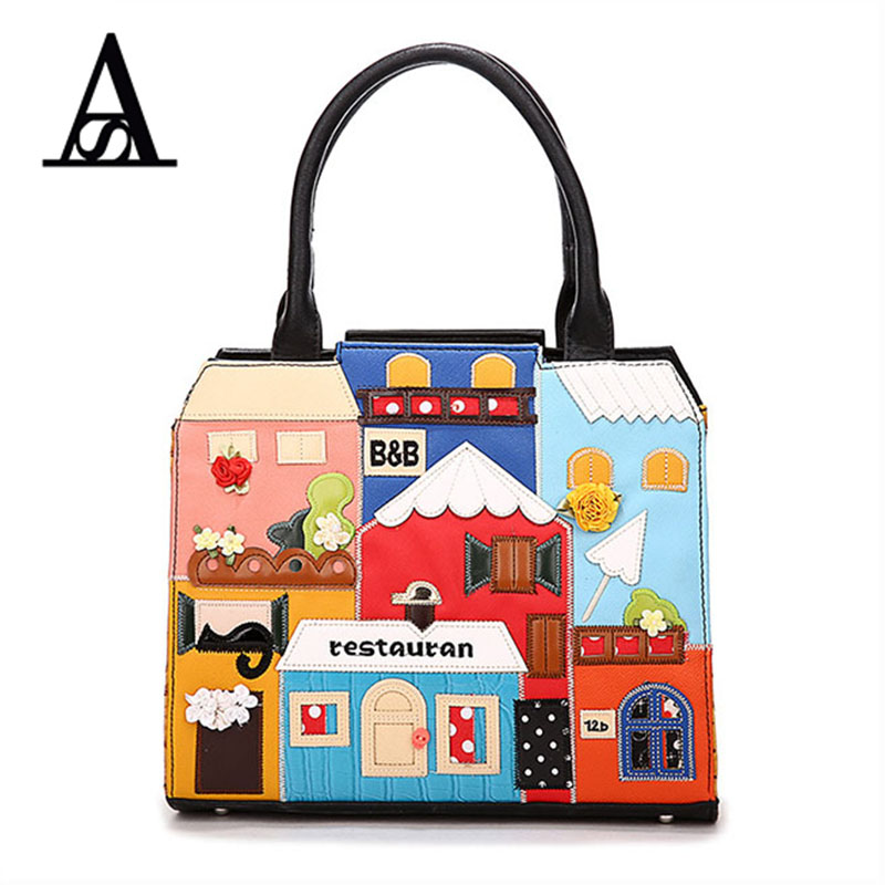 ФОТО Aitesen Women Handbags Italy Luxury Brand Braccialini Casual Messenger Bag Cartoon Tote Bags Ladies Crossbody Bolsas Sac A Main
