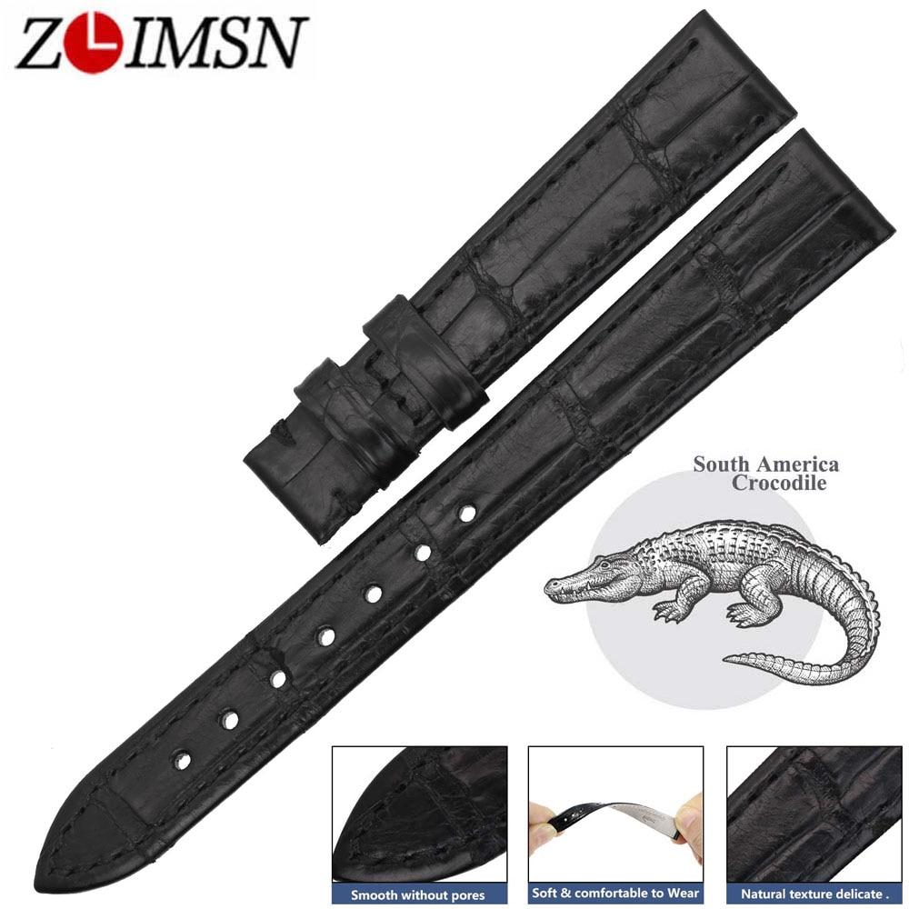 ZLIMSN Bracelet de montre en Alligator véritable de haute qualité Bracelet de montre en cuir de Crocodile noir pour OMEGA 14-24mm