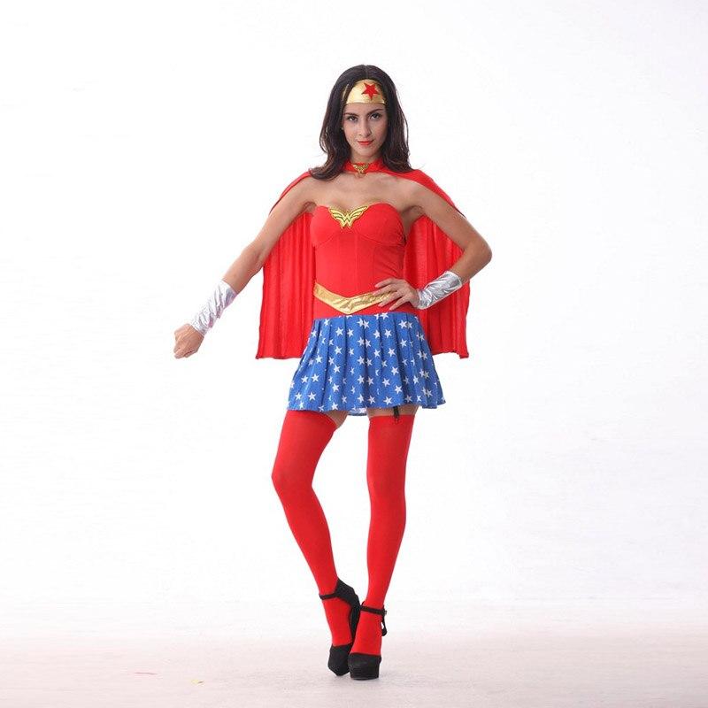 Wonder Woman Costume Adult Classic Superwoman Disfraces Halloween Superman Costumes for Women Supergirl Carnival Fancy Dress