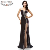 Real Photo Sexy Slit One Shoulder Beading Crystal Velour Long Evening Dress Special Occasion Dresses For