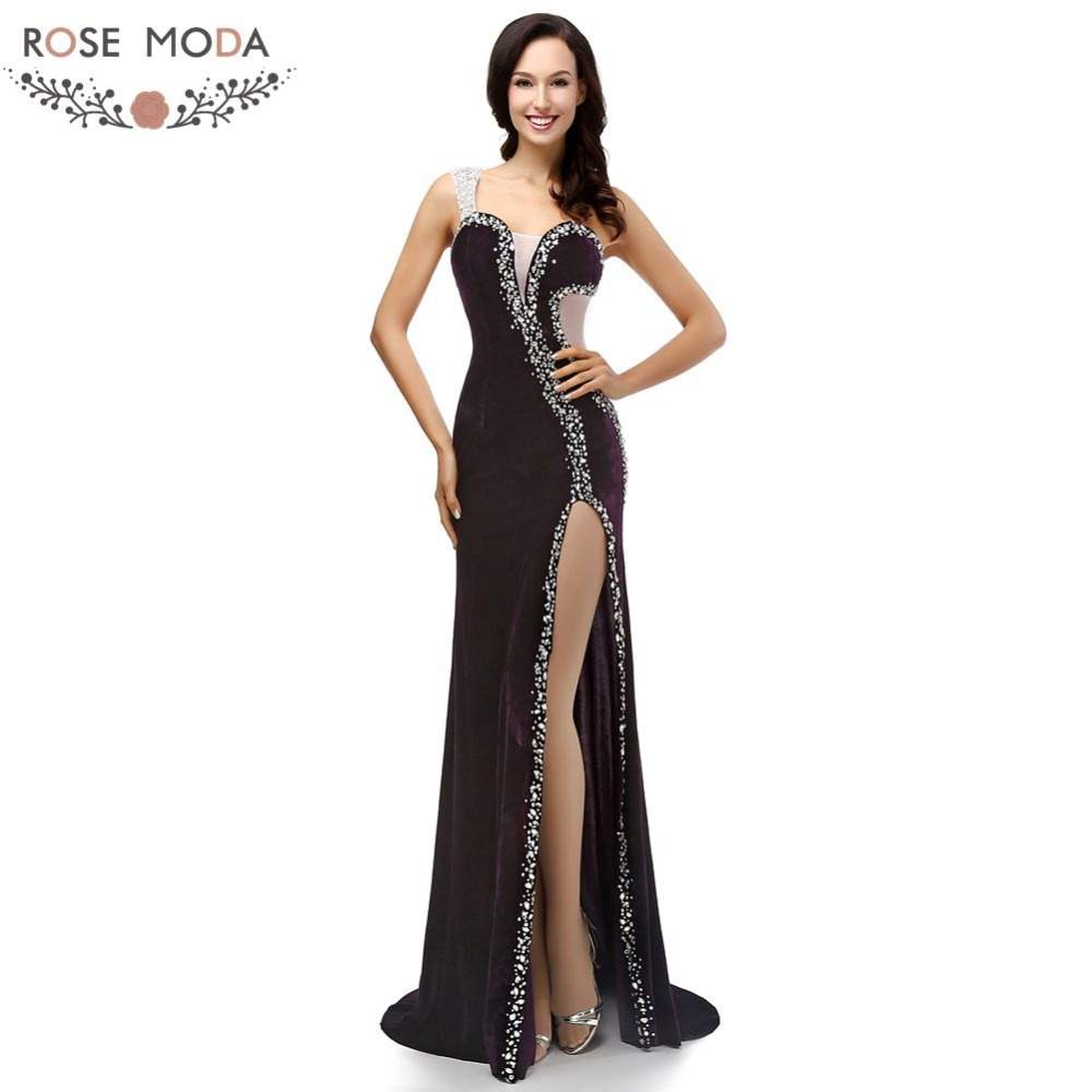 Rose Moda One Shoulder Black Velvet   Evening     Dress   Floor Length Formal   Evening     Dresses   with High Slit Crystal Party   Dress   2019