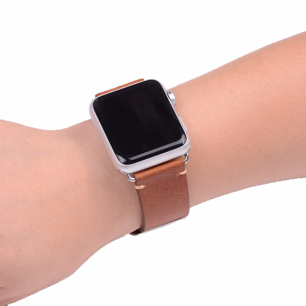 EACHE 38mm 42mm Brown Replacement Watch Fit For Apple Watch Vegetable  tanned leather Watch Band Straps For Women Or Man-in Watchbands from  Watches on ... 1fd1c9bce