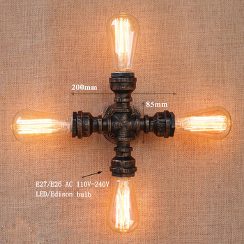 Art Deco Wall Sconce | Vintage Loft Industrial Art 4 Lights Iron Rust Water Pipe Wall Lamp E27 Sconce Lights For Living Room Bedroom Restaurant Bar