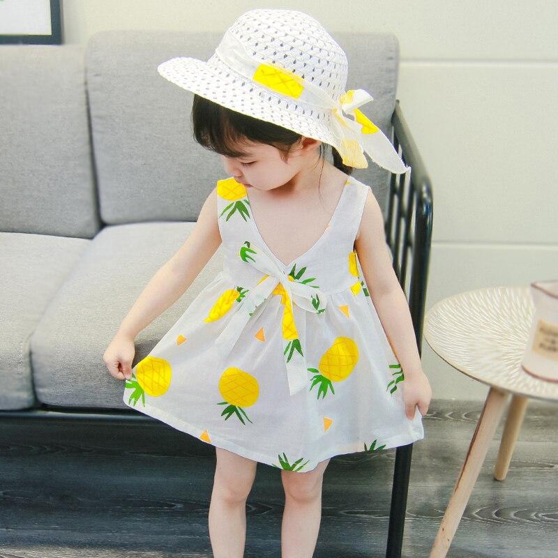 Fashion Beach Baby Dress 2pcs Baby Girl Clothes Summer Sleeveless Dress For Baby Girl Clothes