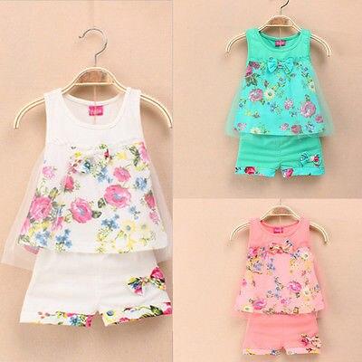 Летняя детская одежда для девочек цветочный Рисунок с бантом без рукавов Кружево Детский костюм Одежда для милых девочек платье
