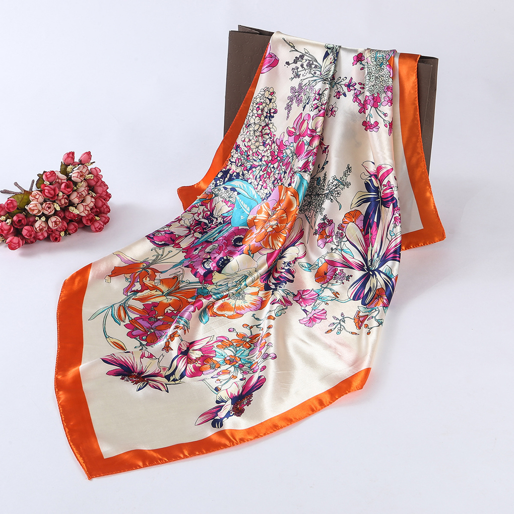 Bufandas Mujer 2017   Scarf   Women Square Silk-like Satin   Scarves     Wrap   Butterfly Floral Ponchos and Capes Shawl Foulard Echarpe