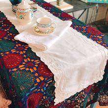 1 шт в пасторальном стиле Бежевый/белый стол с вышитым цветком