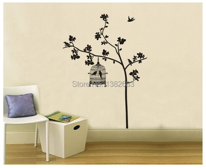 Delightful Free Shipping Removable Wall Stickers Tree And Bird Cage Living Room TV  Decor Sticker JM7026 Drawing Paper In Wall Stickers From Home U0026 Garden On  ...