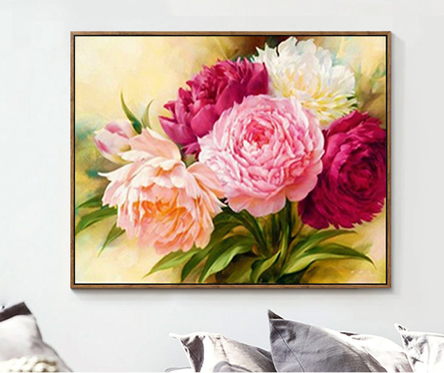 5D DIY Diamond Painting Flowers Diamond Painting Cross Stitch Round Rhinestone Mosaic Unfinished Home Decoration Gift