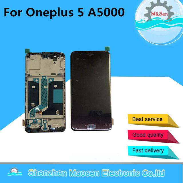 M&Sen For Oneplus 5 A5000 Tested LCD screen Display+Touch panel Digitizer with frame Black/ White free shipping