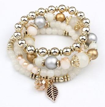 Fashion Multilayer Crystal Beaded Bracelets Bracelets Jewelry Women Jewelry Metal Color: White
