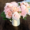 Silk Flower 1 Bouquet Roses Dahlias Artificial Flowers Fall Vivid Fake Leaf Wedding Home Party Decoration High Quality C