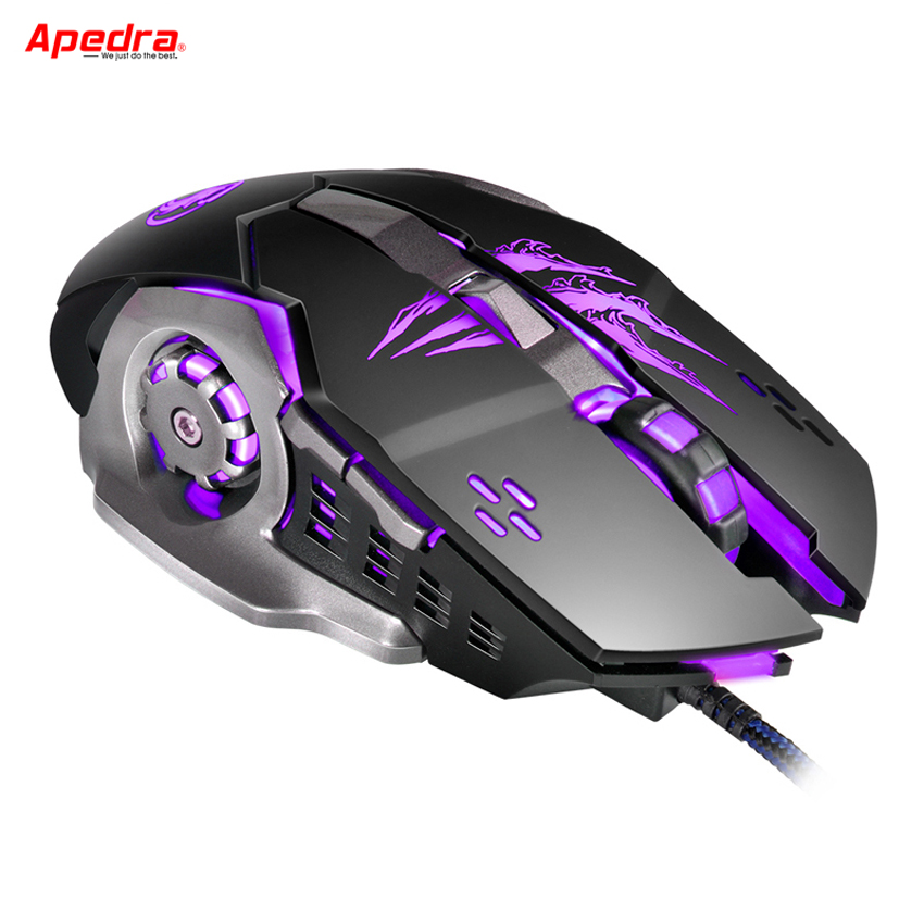 APEDRA Macro Wired Gaming Mouse Gamer 6 Buttons Mechanical Design USB Optical Computer Mouse Game Mice for PC Desktops Laptop A8 цена и фото